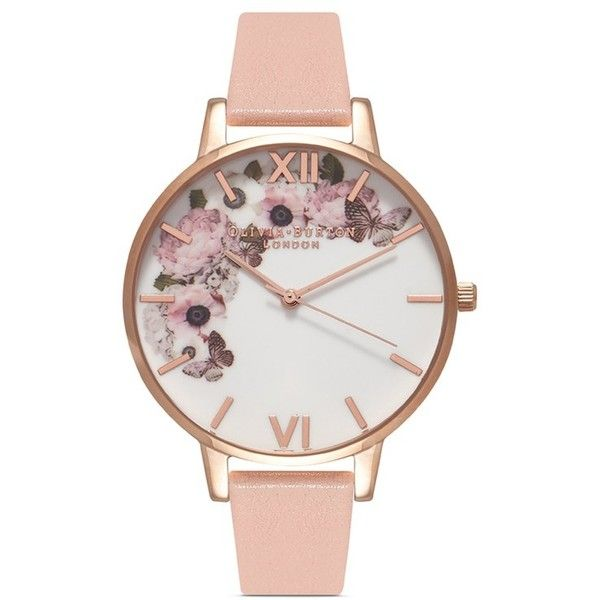 Olivia Burton 'Enchanted Garden' floral print Big Dial watch ($130) ❤ liked on Polyvore featuring jewelry, watches, pink, oversized jewelry, olivia burton watches, pink watches, oversized wrist watch and heart-shaped jewelry