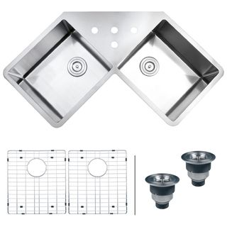 Ticor TR1400BG DEL Undermount Double Bowl Corner Butterfly Kitchen Sink |  Overstock.com Shopping