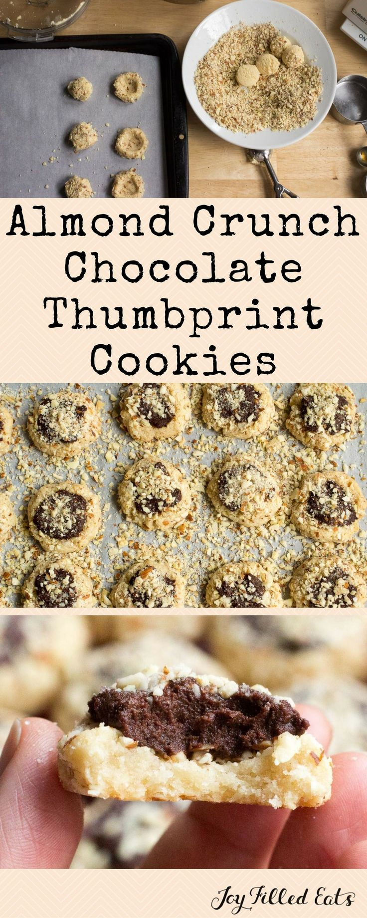 Almond Crunch Chocolate Thumbprint Cookies - Low Carb, Sugar & Grain Free, THM S. These Almond Crunch Chocolate Thumbprint Cookies are the first. If the rest are even half as good as these I'll be happy. These melt in your mouth like shortbread, have the crunch of almonds, and the richness of chocolate ganache. They are the perfect holiday bite.  via @joyfilledeats