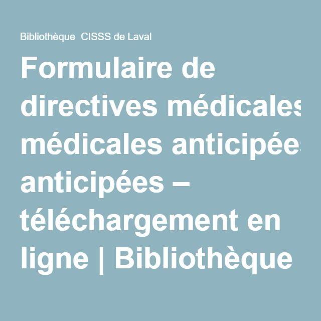 Formulaire de directives médicales anticipées – téléchargement en ligne | Bibliothèque CISSS de Laval