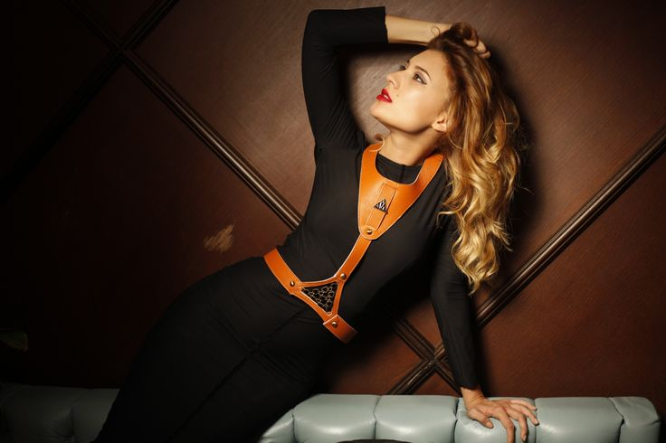 """The provocative collection of leather harness .is inspired by the main character- Anasasia """"Ana"""" from Fifty Shades of Grey by E.L. James. The collection defines all misconceptions about first impression transforming a simple day/ night outfit into am outstanding look and you from a girl into an emancipated lady."""