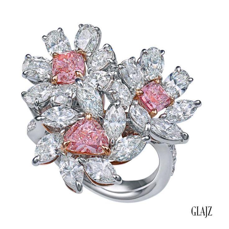 GLAJZ  Another Glajz creation featuring 3 Fancy Intense Argyle Pink diamonds.