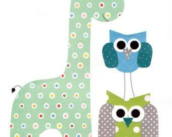 Lime Green and Grey Giraffe Nursery Artwork by 3000yardsofthread