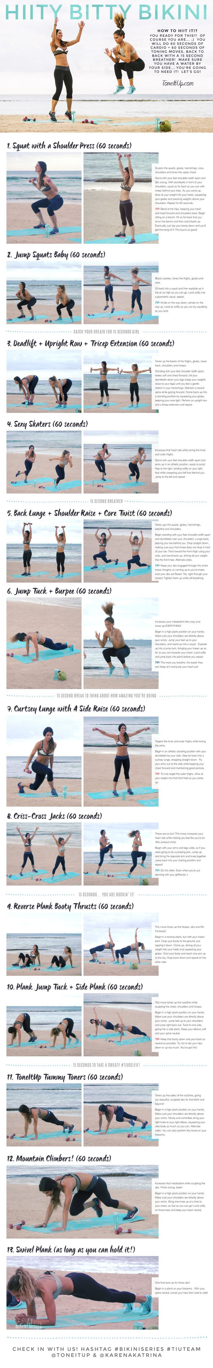 Brace yourself for a heart pumping, metabolism loving, sweat drenching, high intensity,workout! This is your NEW HIITy BITTY BIKINI routine!! fast diet bikini