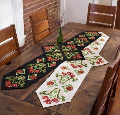 RJR Handspray Fabric & Anna's Dutch Garden Laser Cut Applique Pattern Table Runner Kit