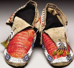 Moccasins; Sioux, Beaded & Quilled Hide, Tin Cones & Horsehair, 10 inch.