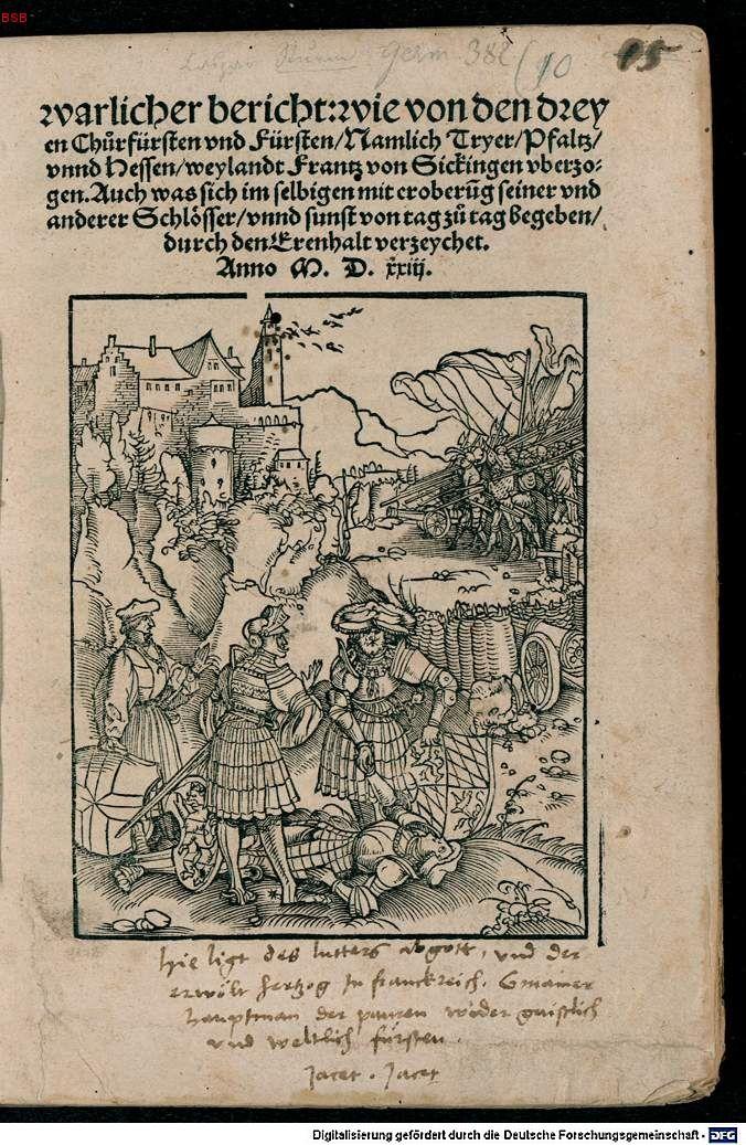 1523 Strassburg, Sturm, Caspar: Warlicher bericht: …Frantz von Sickingen, VD16 S 10022,  Unknown Artist (Petrach Master?) Title page: Dead of Franz von Sickingen - Digitale Bibliothek - Münchener Digitalisierungszentrum