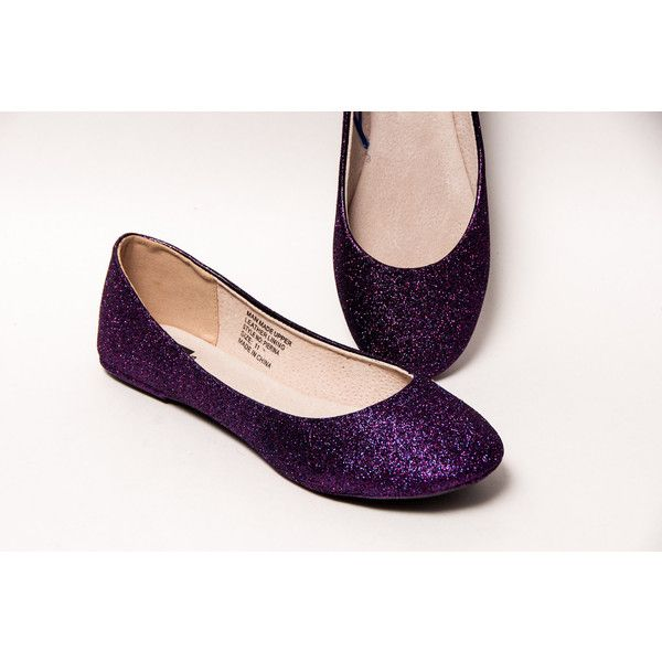 Glitter Razzle Deep Purple Ballet Flat Slipper Shoes ($50) ❤ liked on Polyvore featuring shoes, flats, ballet shoes, grey, slip ons, women's shoes, ballerina shoes, ballet slipper shoes, ballet pumps and slippers shoes