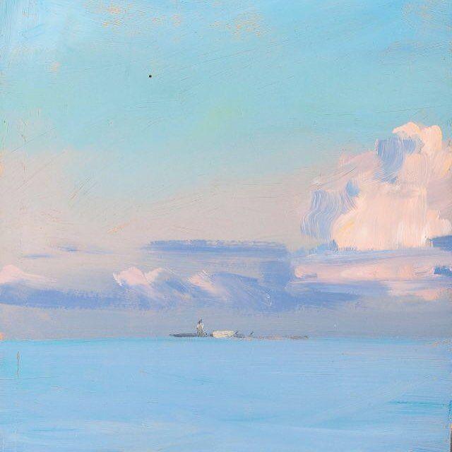 Pink Clouds - Ilkka Lammi Finnish 1976-2000 Oil on board, 24,5x16 cm