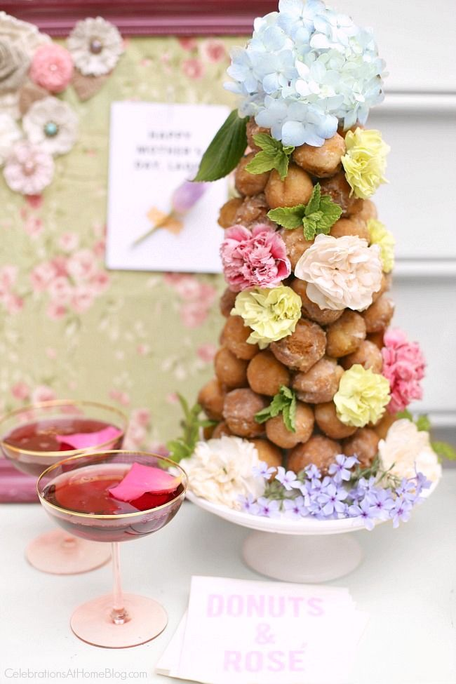 Host a ladies luncheon for mothers day or bridal showers, and serve up a sweet dessert bar! Ideas and inspiration here, from Chris Nease of CelebrationsAtHomeBlog.com