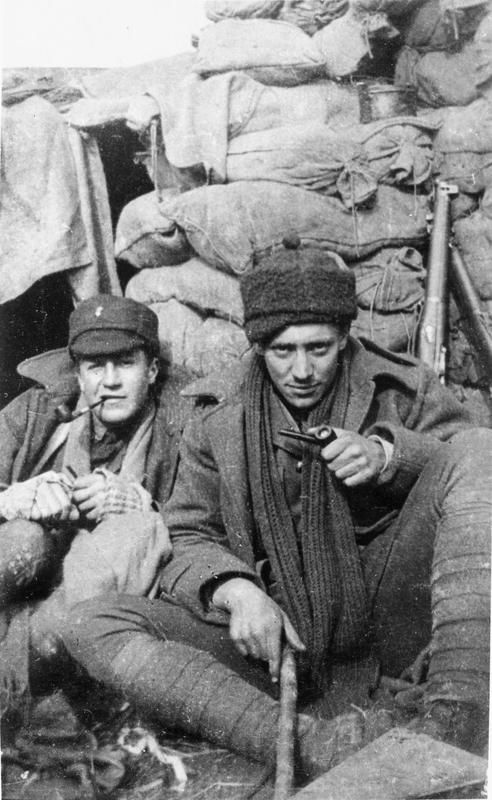 2ND BATTALION ROYAL MUNSTER FUSILIERS WESTERN FRONT DURING 1915 (Q 113848)   Lieutenant C Sealy-King and 2nd Lieutenant Rabone outside their dugout in the frontline at Festubert, 1915.
