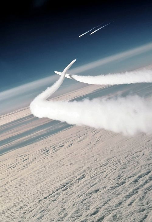 Two Soviet MiG-29 aircraft en route to an air show in British Columbia, Canada, are intercepted by US Air Force F-15 Eagle aircraft of the 21st Tactical Fighter Wing on Aug 1, 1989.