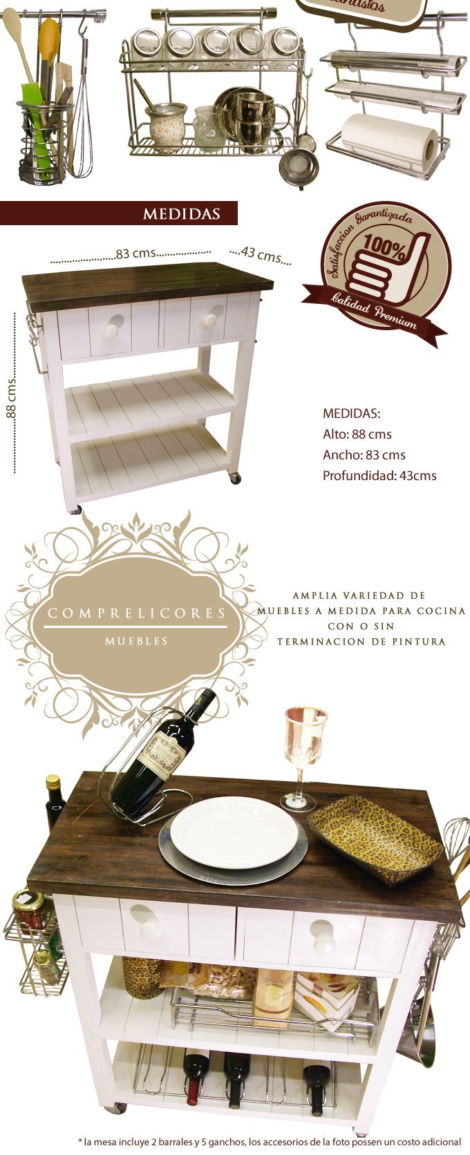 Mesa Auxiliar Isla De Cocina Con Barral Cromado Pintada - $ 1.999,00 en…