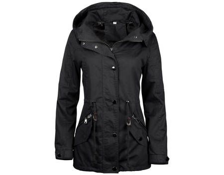 Damen Jacke Übergangsjacke Trenchcoat mit Kapuze Baumwolle Cotton ,Farbe: Schwarz, Größe: S günstig kaufen - Allyouneed.com