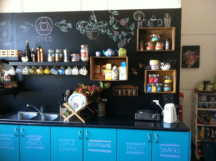 A snap shot of our studio kitchen painted with our coloured chalkboard paint kits  http://tmod.com.au/catalog/chalkboardpaintkits