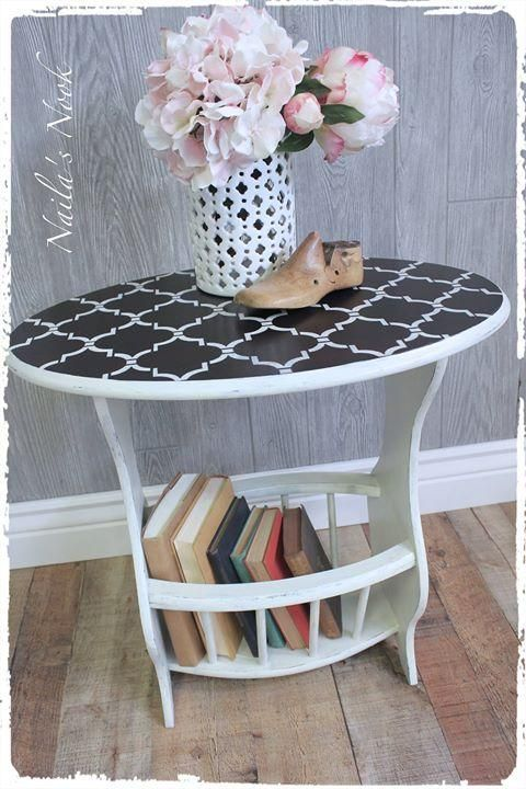 What a charming end table by Naila's Nook this is! They used GF Java Gel Stain for the top, then applied Annie Sloan Old White Chalk Paint with Paris Gray dry-brushed over.  General Finishes offers a similar off-white such as this called Antique White Milk Paint.