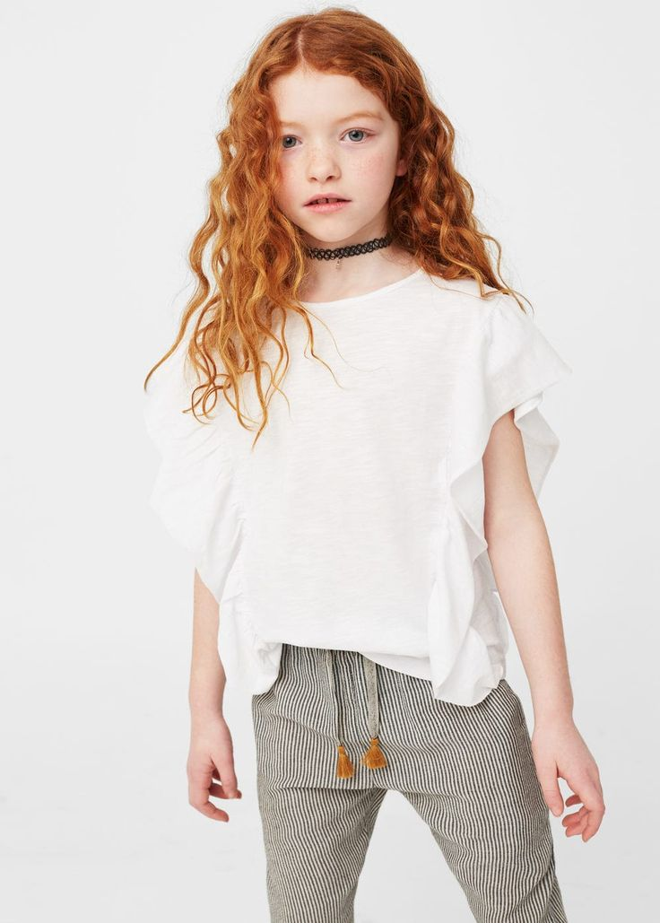 Ruffled detail t-shirt - Kids | MANGO Kids USA
