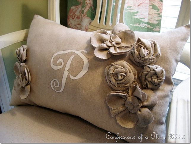 burlap pillow and handmade flowers