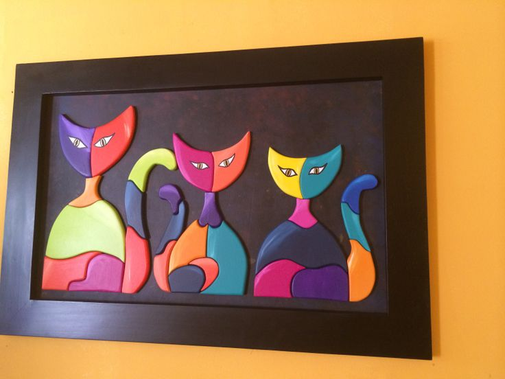 Hermosos gatos alto relieve