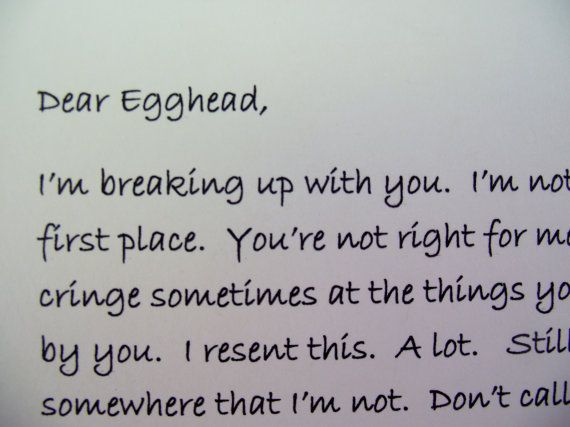 Dear John Letter Anti Valentine Card UnValentine by Pinoodles, $6.00