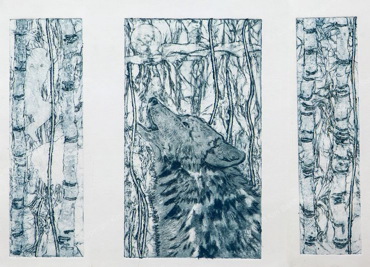 Handmade collograph print for sale on my website titled La Que Sabe (The One Who Knows), also inspired by reading Clarissa Pinkola Estes' book 'Women Who Run With The Wolves'.