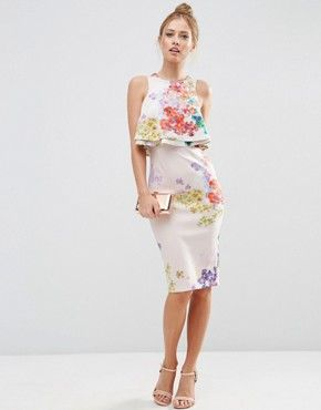 ASOS Double Ruffle Floral Crop Top Midi Pencil Dress