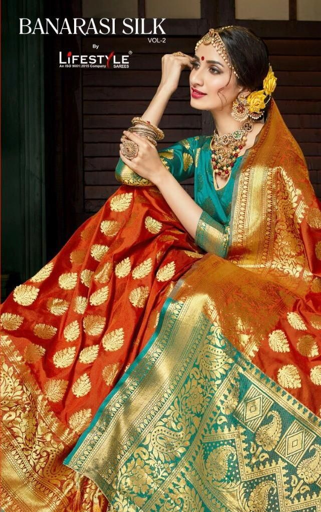 6a9fa9d6464 Krishna Creation » lifestyle banarasi silk vol 2 weaving traditional fancy  saree catalogue