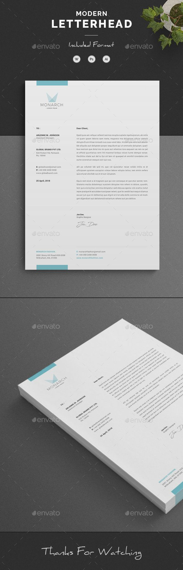 Letterhead Corporate Letterhead page designs are very easy to use and customize, so you can quickly tailor-make your letterhead for any opportunity. Use this letterhead template for company or corporate use.