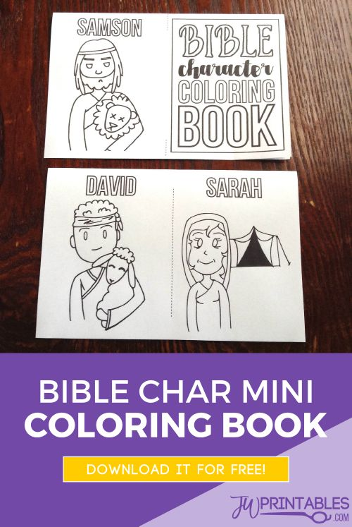 A ini bible character coloring book. No glue! just a few folds and 3 cuts and you're done! #jwchildren #jwkids #jwfamilyworship