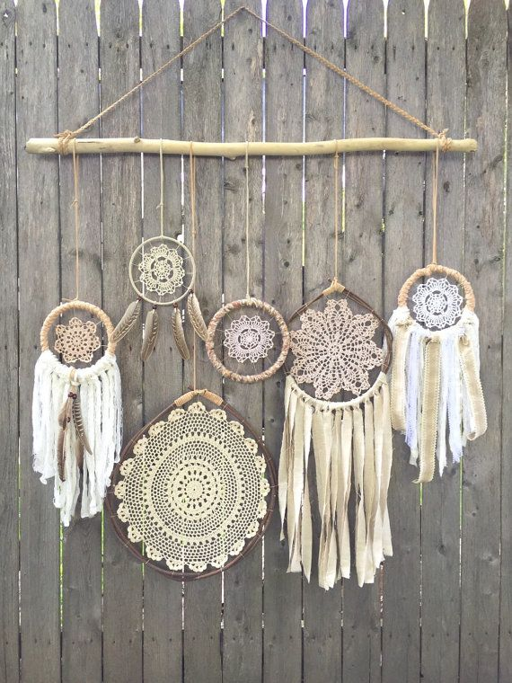 Daydreamer Driftwood + Doily Dreamcatchers Wall Hanging - The ultimate boho chic focal piece adding a simplistic earthy elegance to any room or