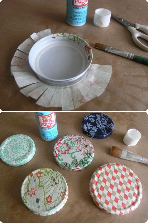 Cover jar lids using tissue paper and mod podge. Now I can use those recycled jars and hide the printing on the lid!: