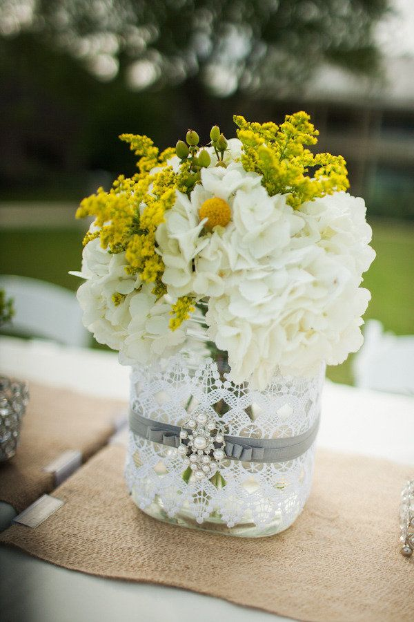 Lace and ribbon wrapped jars