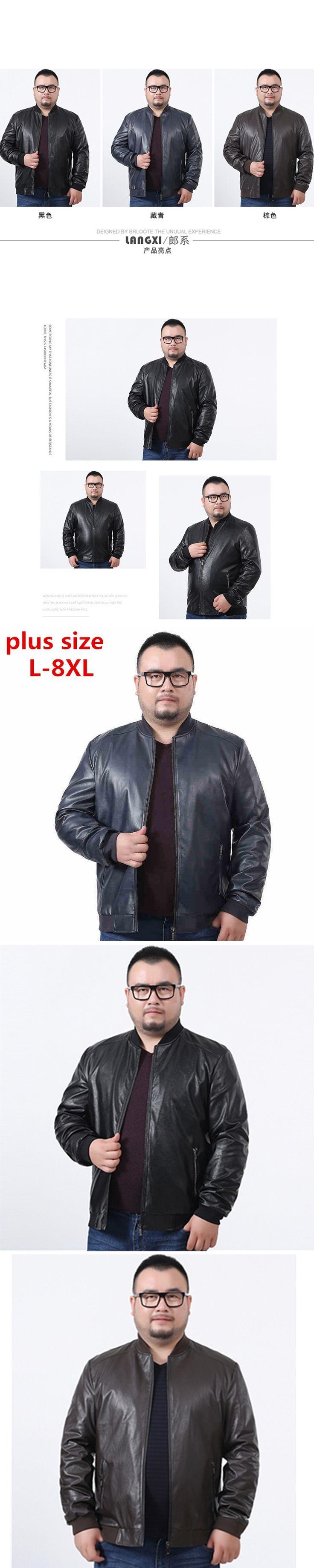 plus size 8XL  7XL 6XL 5XL Spring Men's Leather Jackets Brand Real Sheepskin Jaqueta De Couro Black Male Leather Jacket For Men