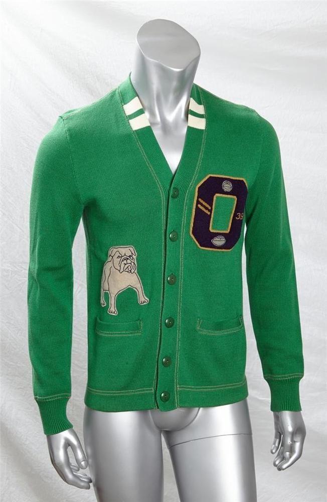 RALPH LAUREN RUGBY Mens Green Bulldog VARSITY Button-Down Sweater Cardigan S NEW #RalphLaurenRugby #Cardigan