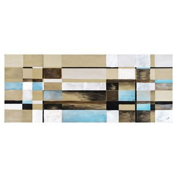 $99, Pastel Pine Wall Art,  W6319, 73'' x 58'' x 3.4'', Outfit a dining room wall or studio space with the distinctive design of this modern wall decoration. Composed of individual wood squares, the coastal color palette of blue, black and white highlights the natural wood grain and saw marks found in each piece