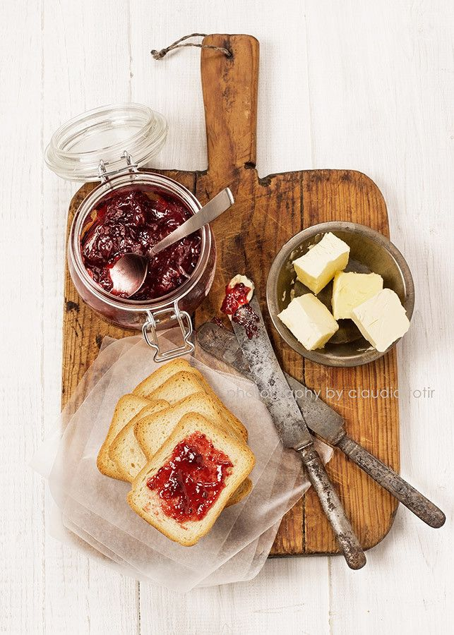 tOast and warm cherry preserves by claudia totir