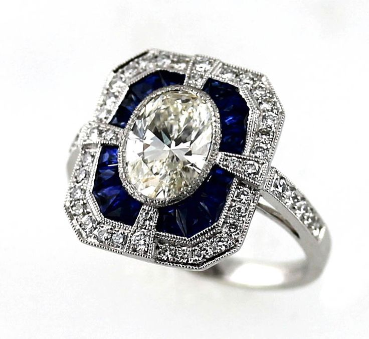 Art Deco Style Diamond & Sapphire Ring | Bardy's Estate Jewelry and ...
