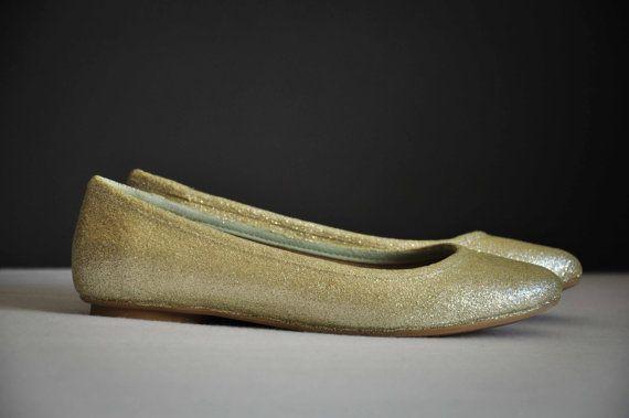 Ivory bridal shoes Ivory glitter shoes Champagne by RagzDagzTM