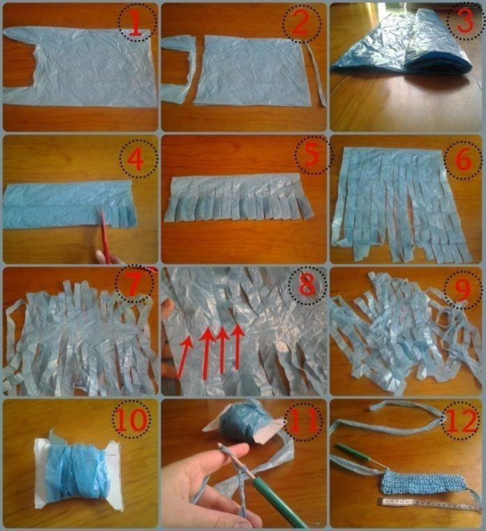 bolsa de crochet de plástico