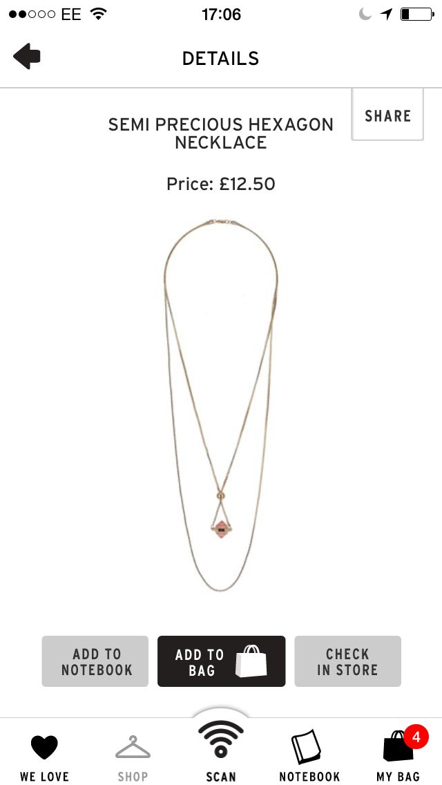 Topshop necklace £12.50
