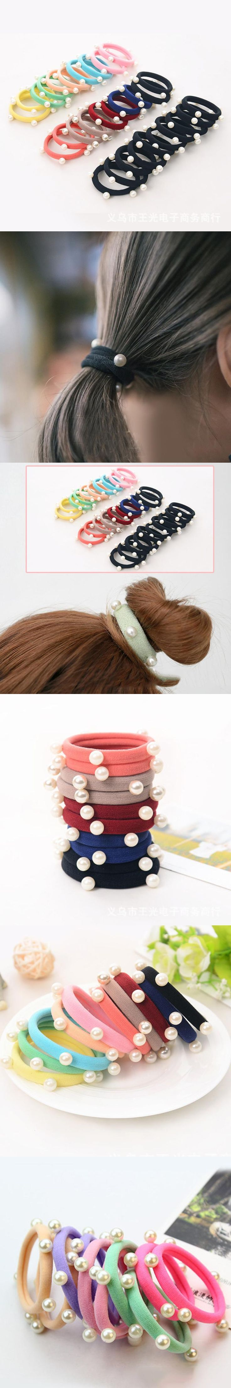 10Pcs Sweet Hair Accessories For Women Girls Retro Ponytail Holder Pearl Stretch Elastic Hair Band Hairband Hair Rope Headwear
