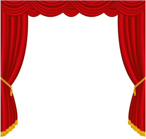 Transparent Red Curtains Decor PNG Clipart