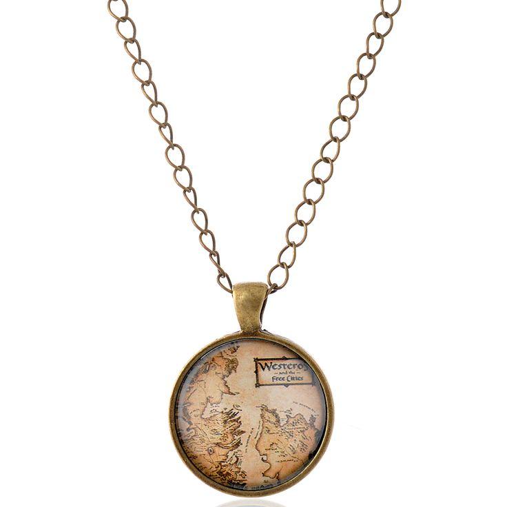 Lureme Время Gem Серии Старинные Западные Карта Подвеска Шарм Ожерелье для Женщин и Девочек (01003510) купить на AliExpress