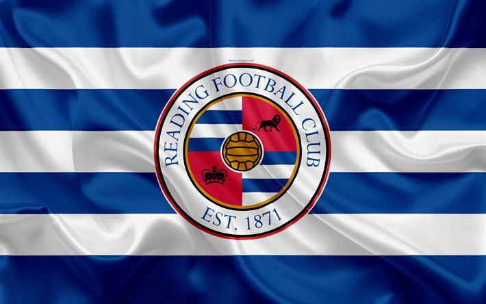 Download wallpapers Reading FC, silk flag, emblem, logo, 4k, Reading, Berkshire, UK, English football club, Football League Championship, Second League, football