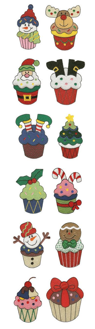 DBJJ562-christmas cupcakes machine embroidery designs filled