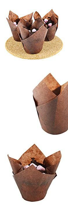 Tall Cake Boxes Wholesale. Tulip Cupcake Liners - Brown for Standard Size Cupcakes and Muffins - 120 Pieces per Box - Perfect for Extra Toppings on a Cupcake.  #tall #cake #boxes #wholesale #tallcake #cakeboxes #boxeswholesale