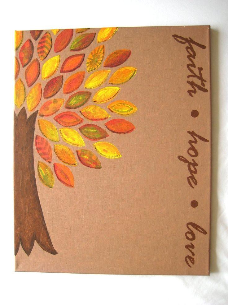 acrylic Canvas Painting Ideas  | FALL Acrylic Painting on Canvas - Faith, Hope, Love. $30.00, via Etsy.