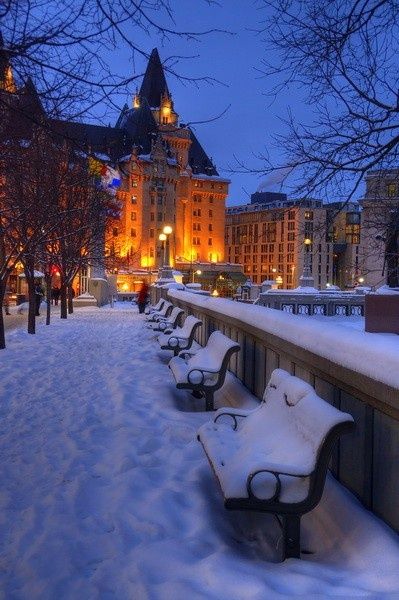 Chateau Laurier on a cold winter's night, Ottawa, Ontario, Canada, 2011 - Click image to find more Travel Pinterest pins