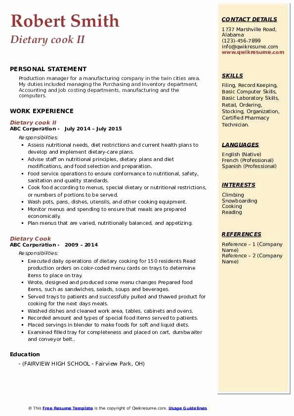 Dietary Aide Job Description Resume Best Of Dietary Cook Resume Samples In 2020 Accounting Jobs Kindergarten Worksheets Printable Kindergarten Jobs
