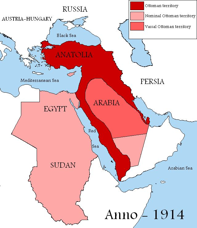 The Sultanate and the Ottoman caliphate in 1914 and the vassal territories